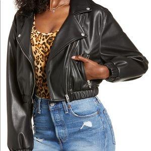 BLANK NYC Faux Leather Cropped Moto Black Jacket